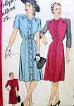 1940s PRETTY SHIRTDRESS PATTERN 2 NECKLINES HOLLYWOOD PATTERNS 1540