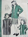 1940S VINTAGE GIRL'S COAT, SKIRT OR RAINCOAT HOLLYWOOD PATTERN 1507