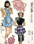 1940s  Pretty Apron Pattern McCall 1279 Full Bib or Lovely Hostess Hostess Half Apron One Size Vintage Sewing Pattern