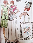 70s BETSEY JOHNSON ALLEY CAT Pattern Pinafore Aprons Tote Bag Floppy Bag Butterick 4090 Vintage Sewing Pattern