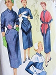 1950s ACCESSORY DRESS PATTERN SLIM DRESS, STOLE HIP DRAPE, CAPE JACKET McCALLS 9287