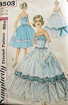 1950s BEAUTIFUL EVENING GOWN DRESS PATTERN RUCHED BODICE, FULL SKIRTED SIMPLICITY 3503