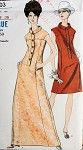 1960s  A LINE FRONT BUTTON GOWN or DRESS PATTERN VOGUE 7203