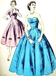 1950s Formal Evening Gown or Cocktail Party Dress Pattern Bouffant Strapless Flattering Princess Design Sweetheart Neckline, Bolero Jacket Advance 7704 Vintage Sewing Pattern