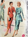 1950s  Slim Cocktail Evening Dress Pattern Bateau Neckline Sheath, Scoop Back, Sash and Bolero Jacket Easy To Sew McCalls 3425 Vintage Sewing Pattern Bust 32