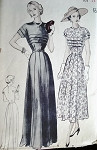 1940s LOVELY EVENING GOWN PATTERN JEWEL NECKLINE  BUTTERICK 5101