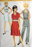 1970s COAT DRESS, TUNIC , PANTS PATTERN DOUBLE BREASTED, V NECKLINE SIMPLICITY PATTERNS 9220