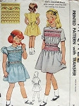 1940s GIRLS SMOCKED DRESS PATTERN CUTE STYLES McCALL 1514