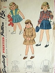 1940s VINTAGE LITTLE GIRLS JACKET AND SUSPENDER SKIRT PATTERN