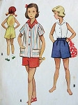 1950S MCCALL'S GIRL'S SHORTS, BLOUSE, JACKET PATTERN 9383