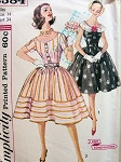1960s Pretty Dress Pattern Simplicity 3384 Full Skirt Day or Party Detachable Collar Mad Men Style Bust 32 Vintage Sewing Pattern UNCUT