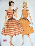 1960 Lovely Shoulder Tied Dress Pattern McCalls 5415 Fitted Bodice  Full Party Skirt Bust 30.5 Vintage Sewing Pattern