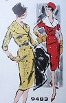 1960s CLASSY SLIM DRESS PATTERN DOUBLE BREASTED, WIDE COLLAR PAN AM MAD MEN ADVANCE 9483