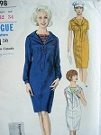 1960s SLIM DRESS,DICKEY PATTERN VOGUE YOUNG FASHIONABLES