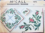1940s McCALL 1275 Kaumagraph Iron On Transfer Moss Roses Cross Stitch Pattern For Trimming Lunch Cloth Tablecloth Napkins or Pair of Curtains Never Used