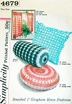 1960s Smocked 1 Inch Gingham Pillows Cushions Cafe Curtain Pattern Simplicity 4679 Eames Era Smocked Pillows Decor Vintage Sewing Smocking Pattern FACTORY FOLDED