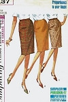 1960s Classic Slim Pencil Skirt Pattern SIMPLICITY 6137 Two Waist Styles Waist 28 Vintage Sewing Pattern
