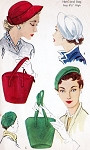 1950s HATS and BAGS PURSES Pattern McCalls 1745 Three Fabulous Hat Styles One large Bag Purse UNCUT