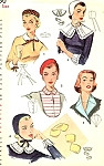 1950s CHARMING Simplicity 1390  Hats, Collars Cuffs and Dickey Pattern Beret, Pill Box, Baby Style Hat Includes Peter Pan Collar Wonderful Accessories Pattern Simplicity 1390 Vintage Sewing Pattern One Size