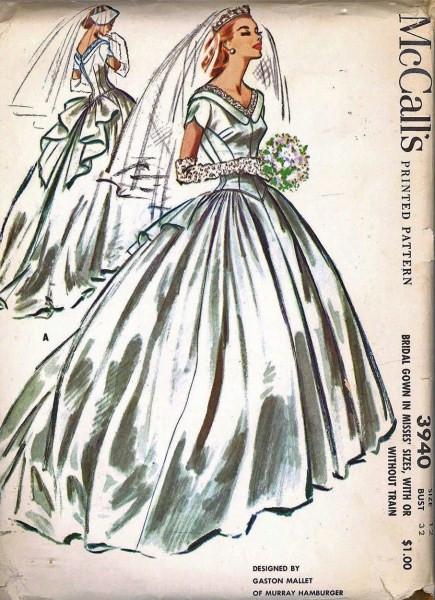 1950s Beautiful Wedding Gown Bridal Dress Pattern McCalls 3940 ...