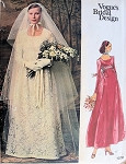 1970s BEAUTIFUL EMPIRE WEDDING DRESS BRIDAL GOWN PATTERN EVENING or ANKLE LENGTH, FLATTERING SHAPED SQ NECKLINE, LOVELY  3 YARD LONG VEIL VOGUE PATTERNS 1070