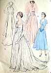 1950s Wedding Gown Bridal Dress Pattern BUTTERICK 5269 Fitted Bodice Sweetheart Neckline Pointed Sleeves  Long Flowing Train Version Bust 36 Vintage Sewing Pattern