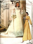 1970s WEDDING GOWN BRIDAL DRESS, VEIL, SLIP PATTERN VOGUE BRIDAL DESIGN 1488