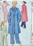 1950s McCALLS PATTERN 9055 TWO PC PAJAMAS, ROBE HOUSECOAT  CLASSIC STYLES