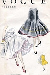 1950s FLIRTY Petticoat Slip Pattern VOGUE 8299 Deep Circular Flounce Beautiful Design One Size Vintage Sewing Pattern