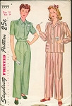 VINTAGE SIMPLICITY 1999 PATTERN 1940s PAJAMAS  PATTERN GREAT TO WEAR AS PANTS
