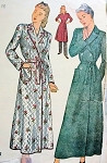 1940s Classic Robe Housecoat Brunch Coat Pattern Lovely WW II Style 3 Versions Includes Quilted Design Simplicity 4759 Vintage Sewing Pattern Bust 34