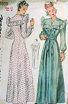 1940S  House Robe Housecoat Negligee  Nightgown Pattern 40s War Time Design Simplicity 1359 Vintage Sewing Pattern Bust 32