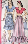 1940s  HOLLYWOOD 1567 Vintage Sewing Pattern Swing Era Carmen Miranda Style Cropped Midriff Top, Blouse, Ruffled Hem Short or Maxi Skirt, 2 Piece Summer Dress Resort Ensemble