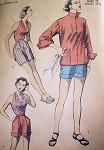 1950S ADVANCE GLAM HALTER TOP, SHORTS, BERMUDA SHORTS, BEACH JACKET PATTERN 6105