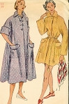 1950s BEACH COVER UP Robe House Coat Pattern SIMPLICITY 3592 Two Lengths Bust 32 Vintage Sewing Pattern