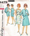 1960s SIMPLICITY 4479 PATTERN BEACH WEEKEND WEAR SHORTS, SKIRT, JACKET, BLOUSE