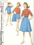1960s SIMPLICITY PATTERN 4899 WEEKEND BEACH WEAR WARDROBE SHIRT, SCARF, SHORTS, WRAP AROUND SKIRT CUTE STYLES