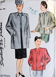 1940s  CLASSY Coat Jacket Pattern SIMPLICITY 1531 Three Style Versions  So JOAN CRAWFORD Bust 34 Vintage Sewing Pattern