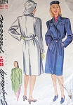 1940s SIMPLICITY  1224 PATTERN FILM NOIR STYLE TRENCH COAT, RAINCOAT, RARE RAIN HAT