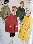 1960s CAPE COAT PATTERN CLASSY 4 STYLES, 3 LENGTHS BUTTERICK 3261