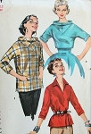 1950s UNIQUE OVER BLOUSE SHIRT PATTERN V SHAPED FRONT and BACK YOKE STAND UP COLLAR 3 STYLES SIMPLICITY 1464 Bust 30