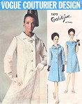 1960s GALITZINE Bias Cut Coat and Dress Pattern VOGUE COUTURIER DESIGN 1670 Lovey Day or Cocktail  Bust 32 Vintage Sewing Pattern