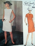 1960s Slim SYBIL CONNOLLY Dress Pattern VOGUE COUTURIER DESIGN 1928  Shift Straight Dress Bust 34 Vintage Couture Sixties Sewing Pattern
