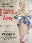 1950s RARE WALT DISNEY CINDERELLA APRON PATTERN COLORFUL UNCUT PENNEYS GIVE AWAY