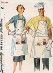 1950s HIS n HERS BARBEQUE APRONS, CHEF HAT, OVEN MITT PATTERN PLUS APPLIQUE TRANSFERS SIMPLICITY 4061
