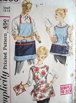 1950s His and Hers Vintage Aprons Pattern Simplicity 3206 Cobbler Style Aprons With Pot Holder Simple To Sew Vintage Sewing Pattern