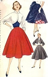 1950s PERKY BOLERO JACKET KIMONO SLEEVED, FULL SKIRT PATTERN SIMPLICITY 3773