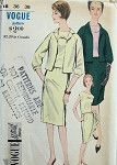 1960s 3 PC SUIT SLIM SKIRT, PRETTY OVER BLOUSE, EASY FITTING JACKET VOGUE SPECIAL DESIGN PATTERNS 5954