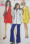 1960s 3 PC MOD SUIT PATTERN GREAT WIDE LAPEL JACKET SIMPLICITY 8115