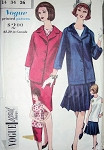 1960s SUIT, BLOUSE PATTERN  SLIM or PLEATED SKIRT,TUNIC JACKET, BLOUSE VOGUE SPECIAL DESIGN 4219